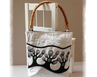 EMBROIDERY Handbag, Handmade bag, Bamboo bag, Shoulder bag, White bag, Fabric bag, Textile bag, elegant bag, casual bag, Code Ika