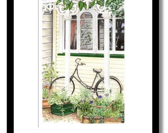 Old Bicycle Giclee fine art print of original color pencil drawing.