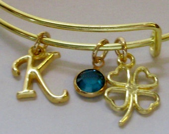 Four Leaf CLOVER Charm Bangle W/ INITIAL /  Birthstone  / Good Luck Charm  Irish Charm Bracelets Under Twenty / Gift For Her   IR1