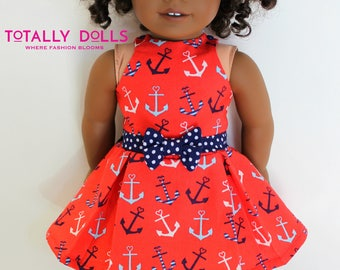 18 Inch Girl Doll Clothing - Spring Summer Patriotic July 4th - Red White Blue Nautical Anchor Top and Skirt to fit 18-in Girl Dolls