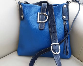 Leather crossbody messenger bag, Blue Italian leather shoulder purse, Vera Pelle Royal Blue and Navy Purse, Gift for her, Blue D purse