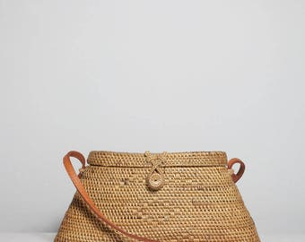 Triangle basket bag, triangle Ata shoulder bag, rattan shoulder bag