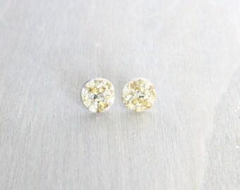 Gold Druzy Bronze Studs, Faux Druzy, Bronze Studs, Bronze Earring Studs, Druzy Earrings, Sparkle, Earrings, Gift for Her, Boho Studs