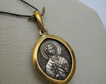 SOLID 925 Sterling Silver Yellow Gold Plated Detailed Saint ANASTASIA Anastasis PENDANT Detailed Manual Work Russian Inscription Prayer