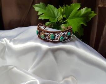 copper wire bracelet , wire wrapped bracelet , turqoise bracelet , handmade bracelet