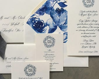 Classic Monogram with Peony Wreath wedding invitation suite