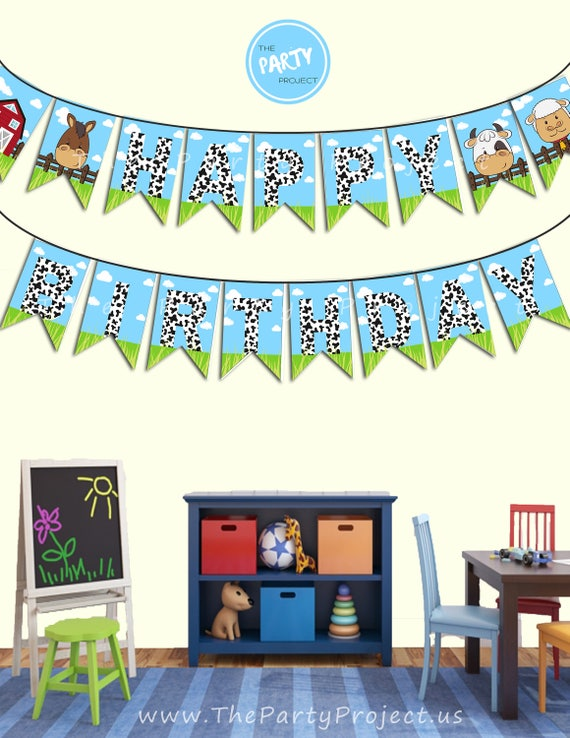 DIY PRINTABLE Barnyard Happy Birthday Banner Garland