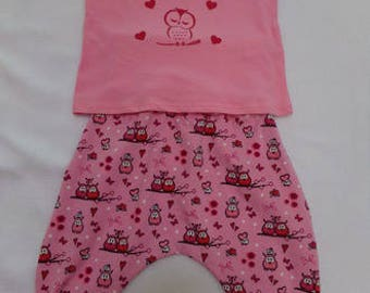 Harem pants and t-shirt set size 1 year model owls