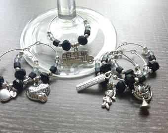 6 markers with charms for teacher wine glass