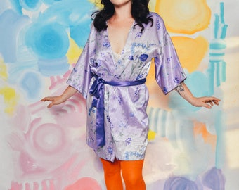 90s vintage lilac purple floral silky smooth robe