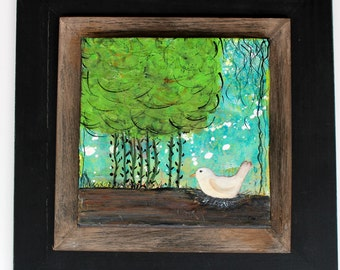 14 x 14 White Bird Painting on Canvas Mounted on Wood Frame, Mixed Media Bird Wall Art, Whimsical Bird Acrylic Painting, Dreaming of Home