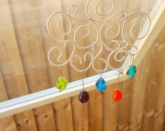 Raincloud Sun Catcher - Rainbow Cloud - Raindrops - Sun Catcher - Glass Suncatcher - Glass Decoration - Hanging Decoration - Rainbow - UK