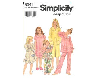 Simplicity 5941 Child and Girls Nightgown Robe Sleepwear Size 7-14