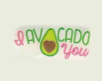 I AVOCADO YOU + Heart Embroidery Design - Instant Digital Download