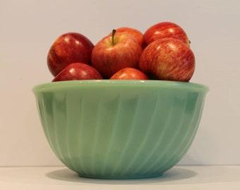 "Fire King Jade-ite 9"" Swirl Bowl - Anchor Hocking Jadeite Mixing Bowl - Jadite Nesting Bowl"