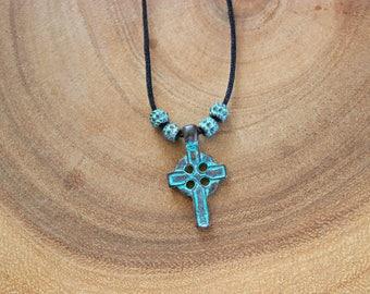 Men's Cross Necklace / Circle Greek Patina Cord Necklace
