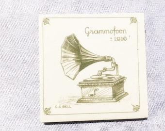 Vintage Grammaphone Tile Small Grammaphone Tile Ceramic Tile Old Vintage Tiles Bell Tile