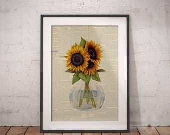 Sunflower Wall Art | Yellow Bouquet Art, Floral Bouquet Print, Floral Bouquet Art, Floral Newspaper, Newspaper Wall Art, Flower Newspaper