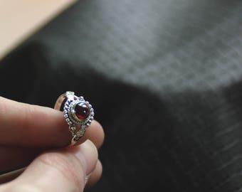 Garnett Silver Ring - 925 - Stone - Gems - Pixies - Fairy - Ethnic - Tribal - Gypsy  - Tribal Fusion - Travel - Festival - Trance -