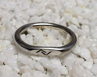 Silver ring with Viking Rune inscription, 3 mm wide, handmade