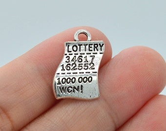 6 Pcs Lottery Ticket Charms Antique Silver Tone 19x12mm - YD1116