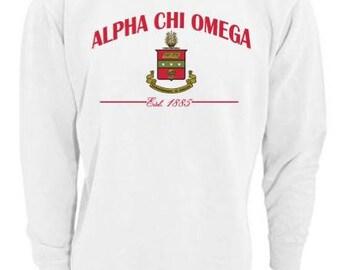 Sorority Sweatshirt, Alpha Chi Omega Sweatshirt, Imprinted Sweatshirt, Not Vinyl, Sorority Crest Sweatshirt, Sorority Gift, Big Little Gift