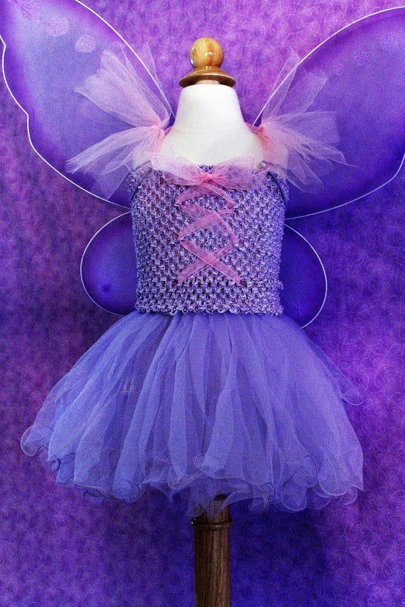 Girls Halloween butterfly tutu costume with wings in purple kids sizes