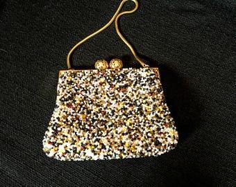 Vintage Handbag, Vintage Clutch, Beaded Clutch, Beaded Handbag, Midcentury Purse, Midcentury Accessories ,