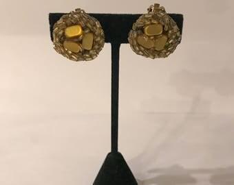 Vintage Bronze Glass Beaded Clip On Earrings