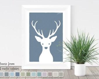 Deer head print, woodland nursery, animal print, deer poster, deer head, woodland animals, rustic home decor