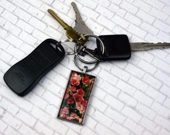 Tulip Keychain Tulip Keychain Flower Keychain Photo Keychain Souvenir Keychain Nature Keychain Rectangle Keychain