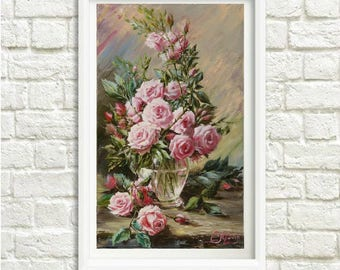 Large Print Rose flower painting print canvas art Gift|for|her Floral print painting Pink rose print flower print Pink decor Wall art print
