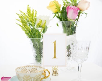 Gold Foil and Blush Table Numbers, Available in Silver, Rose Gold, Copper Foil. Style #0101