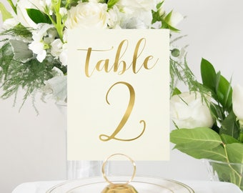 Ivory and Gold Foil Wedding Table Numbers, Handmade, Elegant, Chic, also in Rose Gold, Copper, or Silver Foil  #0134