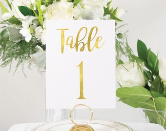 Gold Foil Wedding Table Numbers, Gold Wedding Decor, Custom, Elegant, Handmade, also in Rose Gold, Silver, or Copper Foil #0102nb