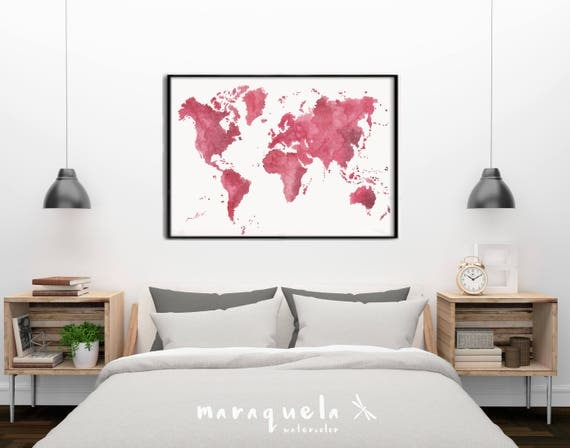 Original WORLD MAP watercolor CHERRY red hues. Watercolor hand painted.