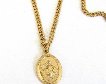 "St. CHRISTOPHER Medal Pendant Necklace Patron Saint Travel Travellers 24"" Chain  ITALY Saint CHRIS Gold Plate Necklace in Box"