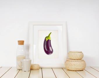 Eggplant print, aubergine decor, vegetable wall art, vegetable print, aubergine print, kitchen wall art, veggie art print, vegetable posters