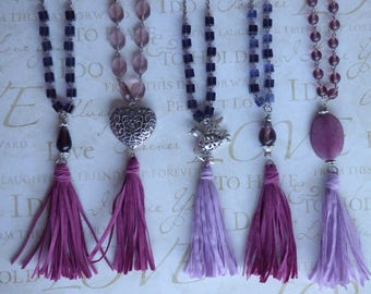 Purple tassel necklace