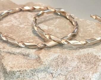 Twisted brass bangle bracelets, twisted half round bangle bracelet, stackable brass bracelets, brass bracelets, bangles, gift for her