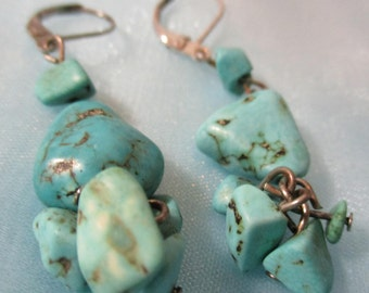 Polished Turquoise Stones, Various Sizes, Dangle Pierced Earrings