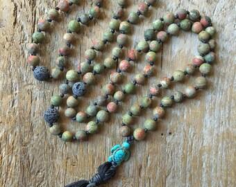 Unakite Mala, Prayer Necklace, Tibetan Prayer Necklace, Tassel Necklace, Energy Stone, Healing Stone, Lava Stone, Diffuser Necklace, Turtle