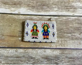 Vintage Native American Indian Chief Beaded Coin Purse  Small Embellished Pouch