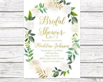 Bridal Shower Invitation, Bridal Shower Brunch Invitation, Bridal Brunch, Wreath Bridal Shower Invitation, Rustic Bridal Shower Invitation