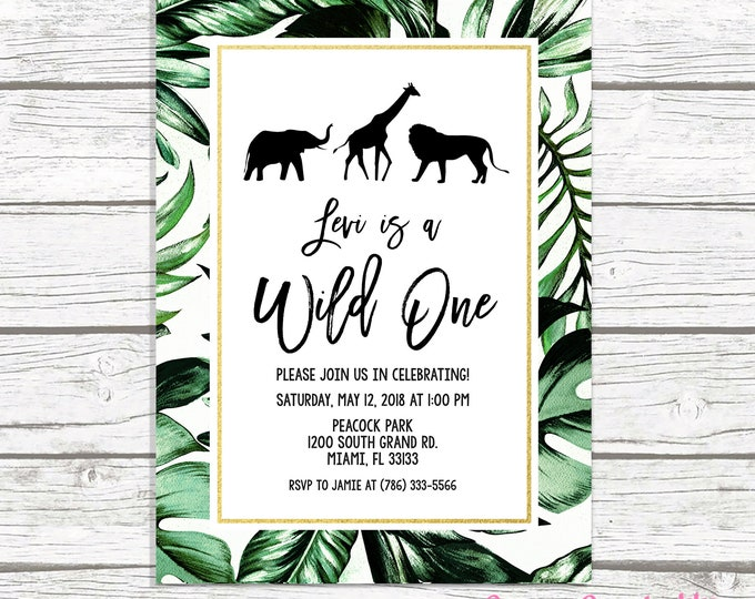 Wild One Birthday Invitation, Safari Birthday Invitation, First 1st Birthday Invite, Leaf Safari Invitation, Wild One Invitation, Printable