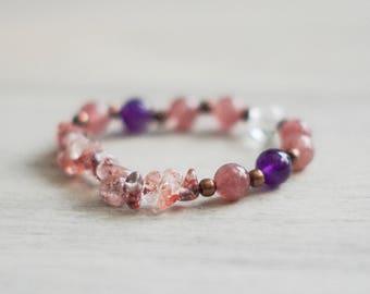 Super Seven and Quartz Bracelet - Healing Bracelet - Wrist Mala - Gemstone Bracelet - Meditation Bracelet - Mala Bracelet - Boho Jewelry