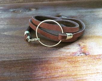 Women's leather wrap bracelet, leather circle bracelet