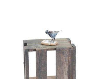 Sparrow on bread - 1/12th dollshouse miniature bird