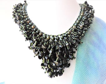 Beaded Necklace,Fringe Choker Necklace Black and Green