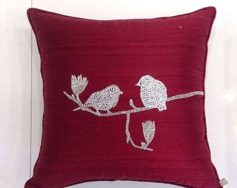 Cyber Monday Sale Red Throw Pillow Red Bird Pillow Burgundy Red Decor Red Holiday Decor Christmas Gifts